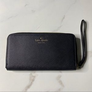 Kate Spade Talk Is Chic Black Leather Wristlet